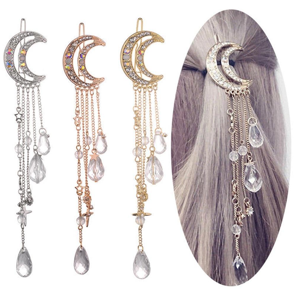 Fashion Elegant Women Lady Moon Rhinestone Crystal Tassel Long Chain Beads Dangle Hairpin Hair Clip Hair Jewelry