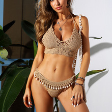 Sexy Crochet Bikini Top Knitted Swimsuit Female 2021 Handmade Swimwear Women Extreme Bikini Summer Bathers Bathing Suit