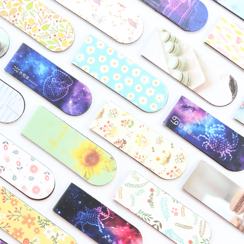 Domikee Cute Kawaii Constellation Macaron Flower Pattern School Student Magnetic Paper Bookmarks For Book Stationery Gift 2 Pcs
