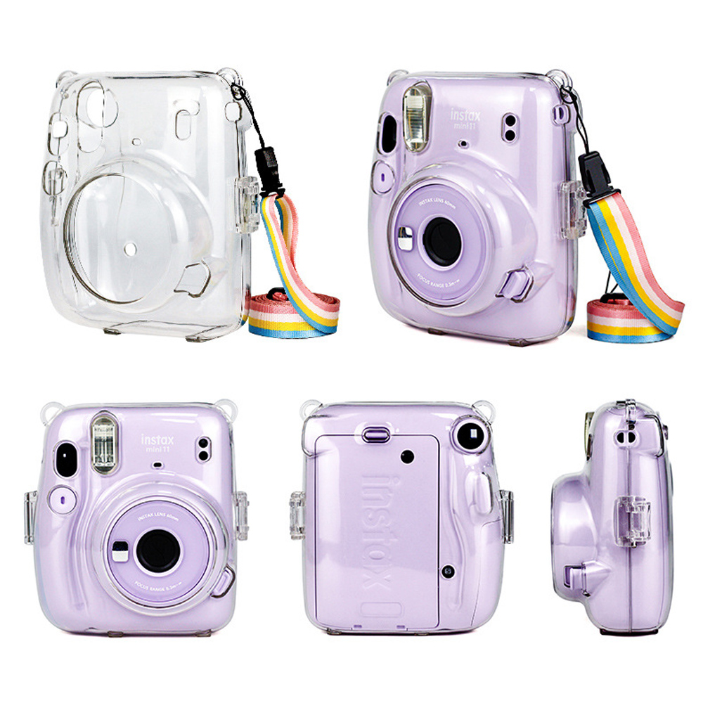 Besegad Transparent Protective Case Cover Pouch Shoulder Strap For Fuji Fujifilm Instax Camera Mini 11 Instant Accessories