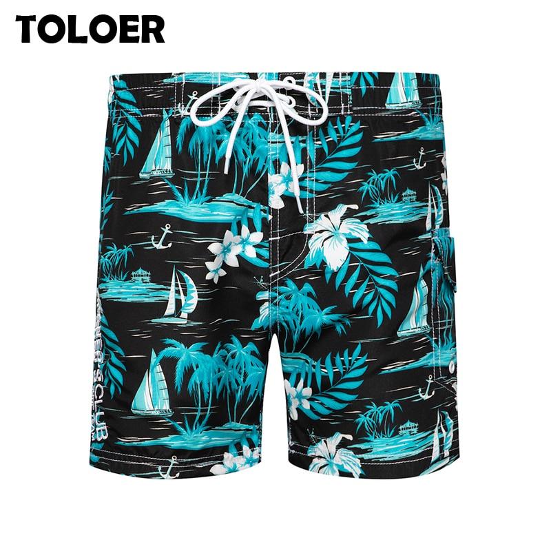 2020 Brand Beach Shorts Men Swim Trunks Shorts Men''s Swimwear Leaves Printed Quick Dry Board Surfing Shorts Maldives Beach Pants