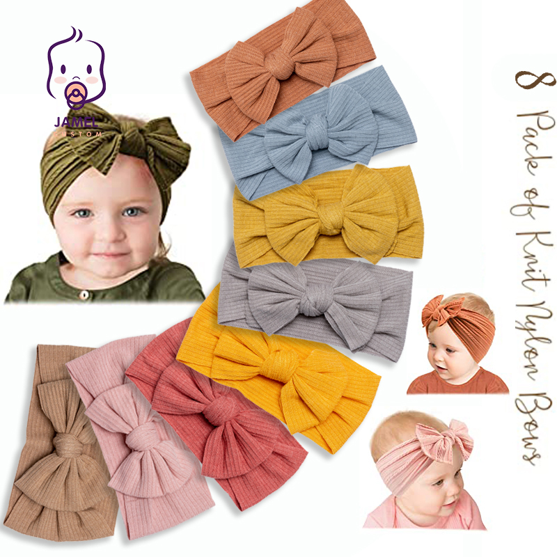 8 Style Baby Hair Band Set For Girls Bow Elastic Headbands Twisted Cable Design Turban Kids Headware Baby Hair Accessories