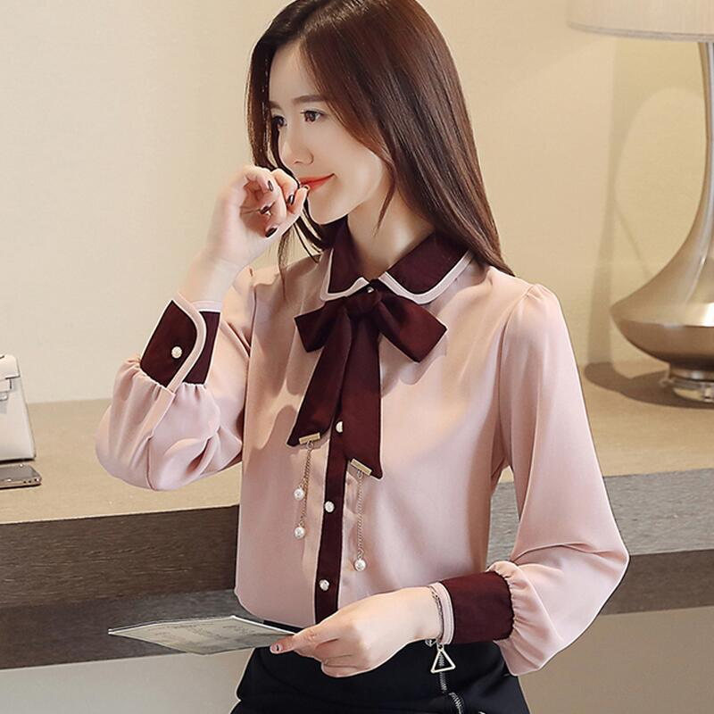 2019  Autumn New Arrival  High Quality   Fashion Turn Down Collar  Solid Color   Long Sleeve  Woman  Chiffon Blouse