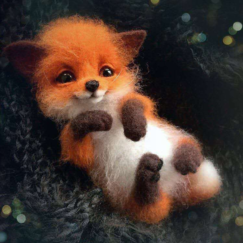Wool Felt Poke Handmade DIY Material Kit Wool Needle Non Finished Cat Fox Raccoon Animal Brooch Plush Doll Women Bag Pendant