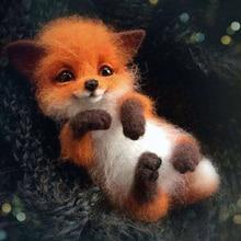 Pendant Animal-Brooch Plush-Doll Raccoon Wool-Felt DIY Bag Material-Kit Poke Non-Finished-Cat-Fox