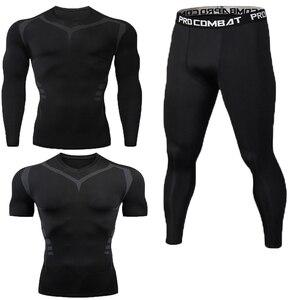 Image 5 - New Fitness Mens Set Pure Black Compression Top + Leggings Underwear Crossfit Long Sleeve + Short Sleeve T Shirt Apparel Set