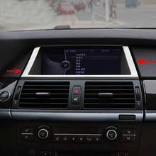цена на Car Inner Console Dashboard GPS Navigation NBT Screen Panel FrameCover Trim Accessories For BMW X5 X6 E70 E71 Car styling