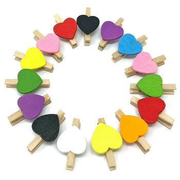 1000pcs 30mm Natural Pins With Colored Love Heart Chips Wood Clothespins Paperclips Pegs For Wedding Gift Wrapping Scrapbooking