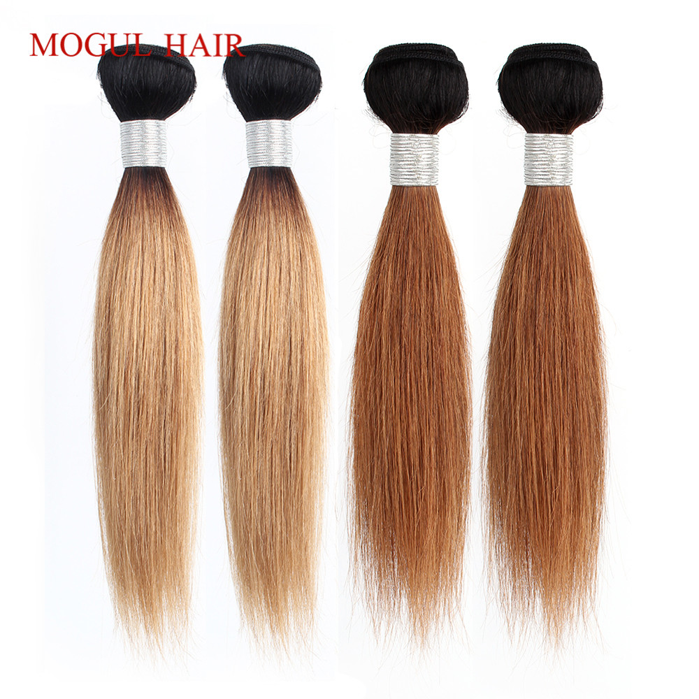 MOGUL HAIR 2 Bundles 50g/pc Ombre Honey Blonde Blonde Weave Bundles Indian Straight Non Remy Human Hair Extension 10-16 Inch