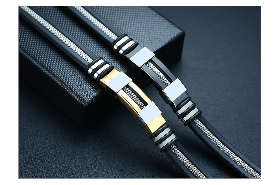 Haa472cf052a240339d8518c36f85e38fC - Stainless Steel Bracelet Men Wrist Band Black Grooved Rudder Silicone Mesh Link Insert Punk Wristband Stylish Casual Bangle