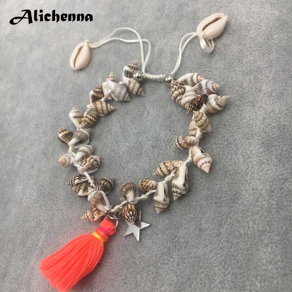 Natural Conch Shell Anklets for Women Bohemian Tassel Seashell Ankle Bracelets Statement Boho Beach Charms Handmade Foot Jewelry
