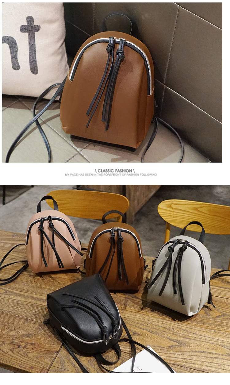 Casual Small Waterproof Backpack Women Solid Color Pu Leather School Bag Simple Mini Zipper Bookbags And Girls Travel Backpacks (19)