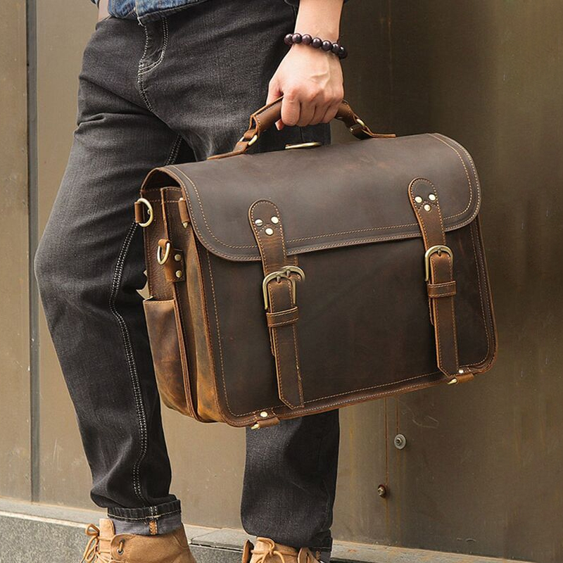 Luufan Genuine Leather Travel Briefcase With Shoulder Strap Double Layer Briefcase Handbags Shoulder Bags Bagpack Multifunction