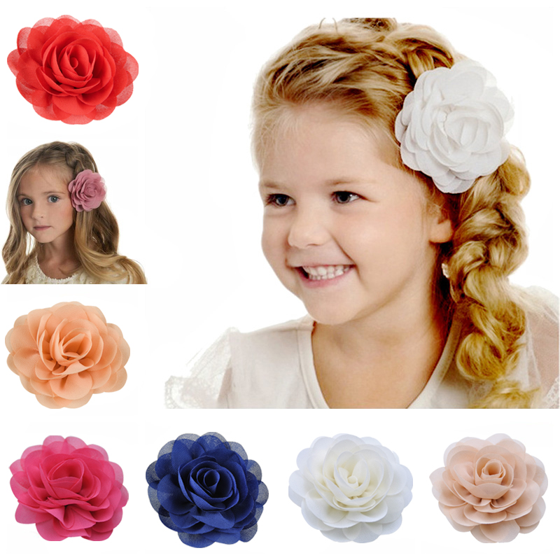 Kids Headwear Chiffon Floral Hair Clips For Girls Princess Rose Hair Flower Acccessories Boutique Children Hairpins Barrettes