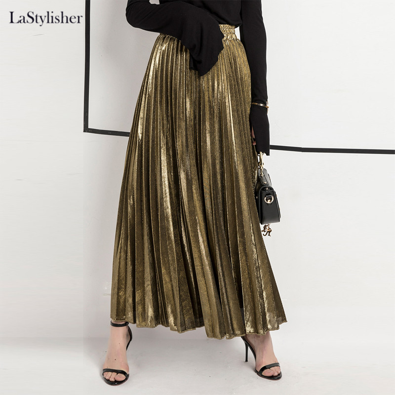 Casual Skirt Clothing Maxi Velvet Pleated Streetwear Gold Silver Autumn High-Waist Winter title=