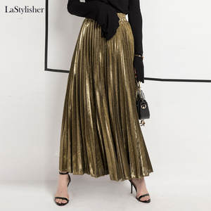 Casual Skirt Clothing Maxi Velvet Pleated Gold Silver Autumn High-Waist Winter Fashion
