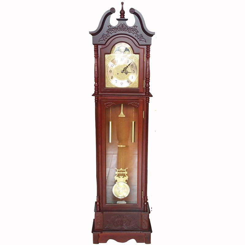 Antique Pendulum Carved Wooden Solid Wood Mechanism Movement Floor Standing Clock