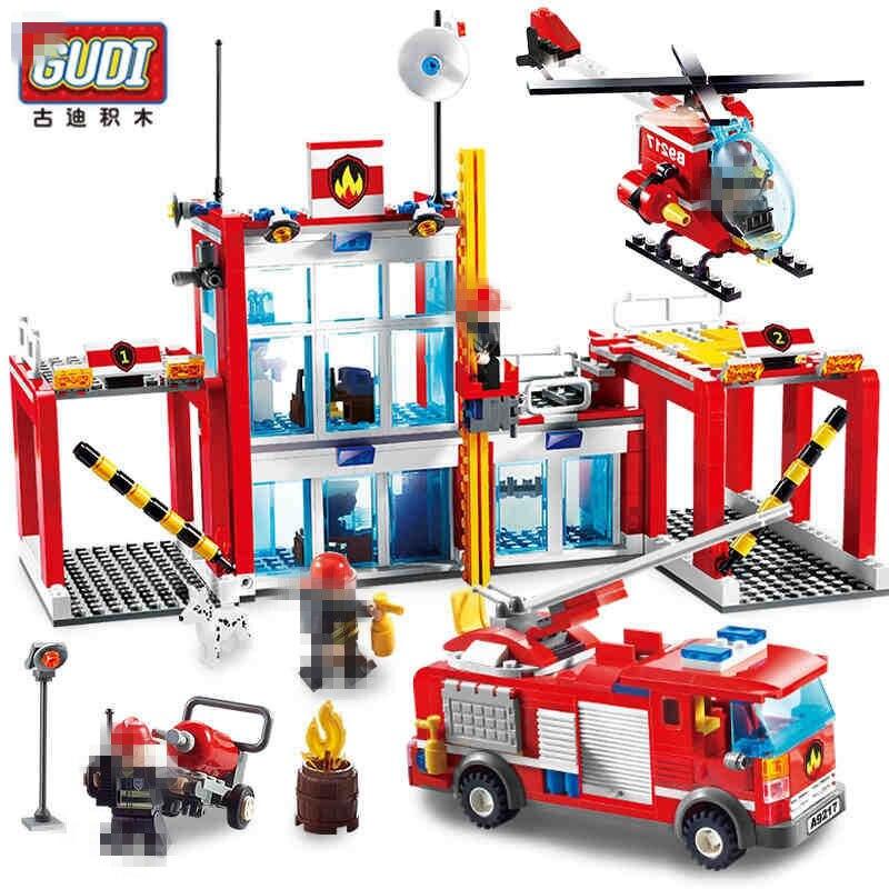 Gudi cidade estação de resgate de incêndio administração caminhão helicóptero bloco de construção tijolos brinquedos educativos melhor presente para childs 874 pçs