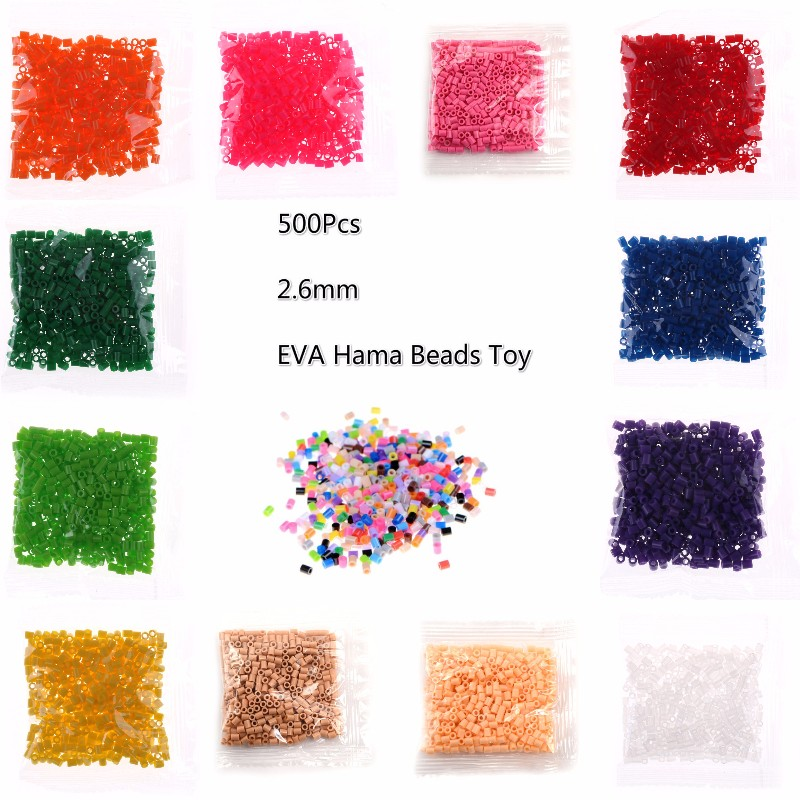 500Pcs 2.6mm EVA Hama Beads Toy Kids Fun Craft DIY Handmaking Fuse Bead Creative Intelligence Educational Toys