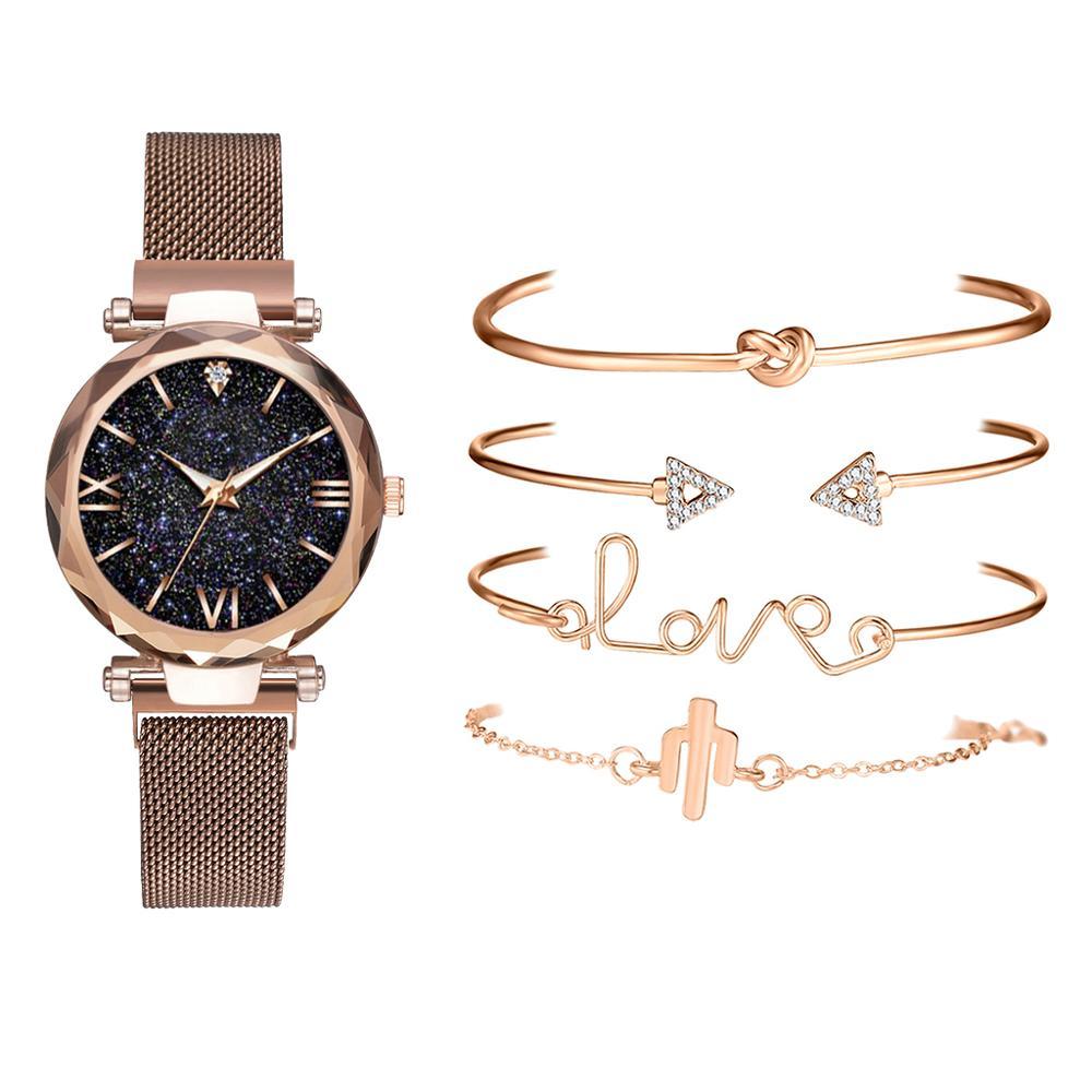5pcs Set Luxury Women Watches Magnetic Starry Sky Female Clock Quartz Wristwatch Fashion Ladies Wrist Watch relogio feminino 5