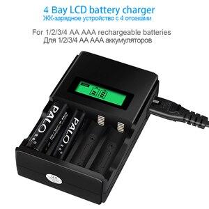 Image 2 - PALO 4 sloty wyświetlacz LCD inteligentna ładowarka do akumulatora do 1.2V AA akumulator aaa NI MH NI CD bateria z wtyczką ue AU US UK