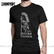Men T-Shirts Polish Hussar Polska Tops Husaria Poland Humorous Pure Cotton Tees Short Sleeve Husaria Warszawa Eagle T Shirts