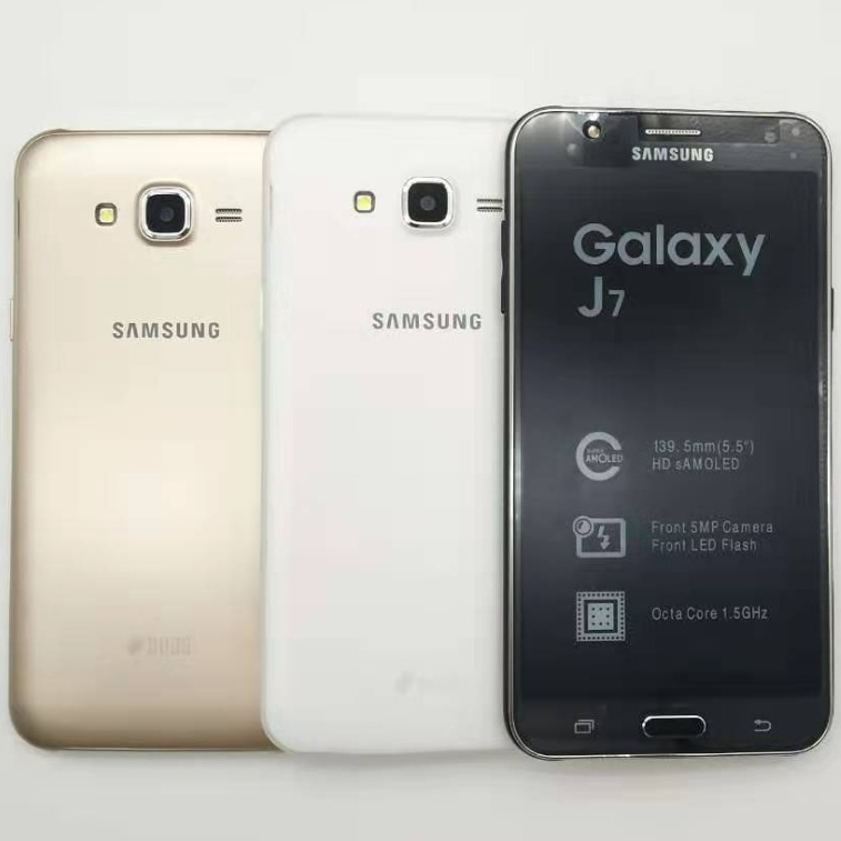 "Original Samsung Galaxy J7 Unlocked Duos GSM 4G LTE Android Mobile Phone Octa Core Dual Sim 5.5"" RAM 1.5GB ROM 16GB Refurbished"