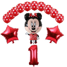 13pcs Mickey Mouse aluminum film balloon set wave dot latex 32 inch digital  foil combination birthday party decoration