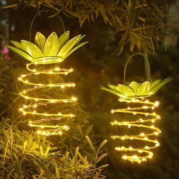 Lampy ogrodowe na energię słoneczną kształt ananasa na zewnątrz słonecznej wisząca lampa wodoodporna ściana lampa wróżka lampki nocne żelazny drut ozdoby do dekoracji wnętrz tanie i dobre opinie ELLAGLVS environment friendly and energy efficient 1 Year SK072 IP65 1 2 v SOLAR Brak Żarówki led Współczesna HOLIDAY