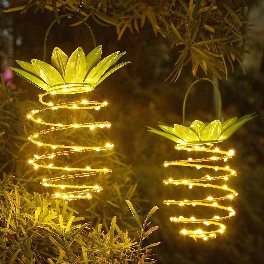 Solar Garten Lichter Ananas Form Outdoor Solar Hängen Licht Wasserdichte Wand Lampe Fee Nacht Lichter Eisen Draht Kunst Wohnkultur