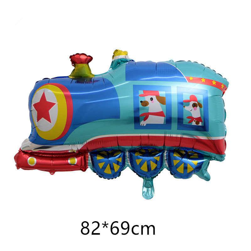 DIY dibujos animados Globos de automóvil camión de bomberos tren lámina globo ambulancia Globos niños regalos cumpleaños fiesta decoraciones niños bolas
