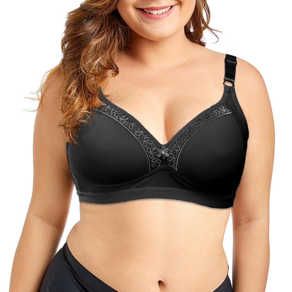 Plus Size Middle-Aged Womens Bra Lingerie Cozy Light Padded Brassiere Wireless Underwear Bralette Tops 36-46 A B C Cup 1