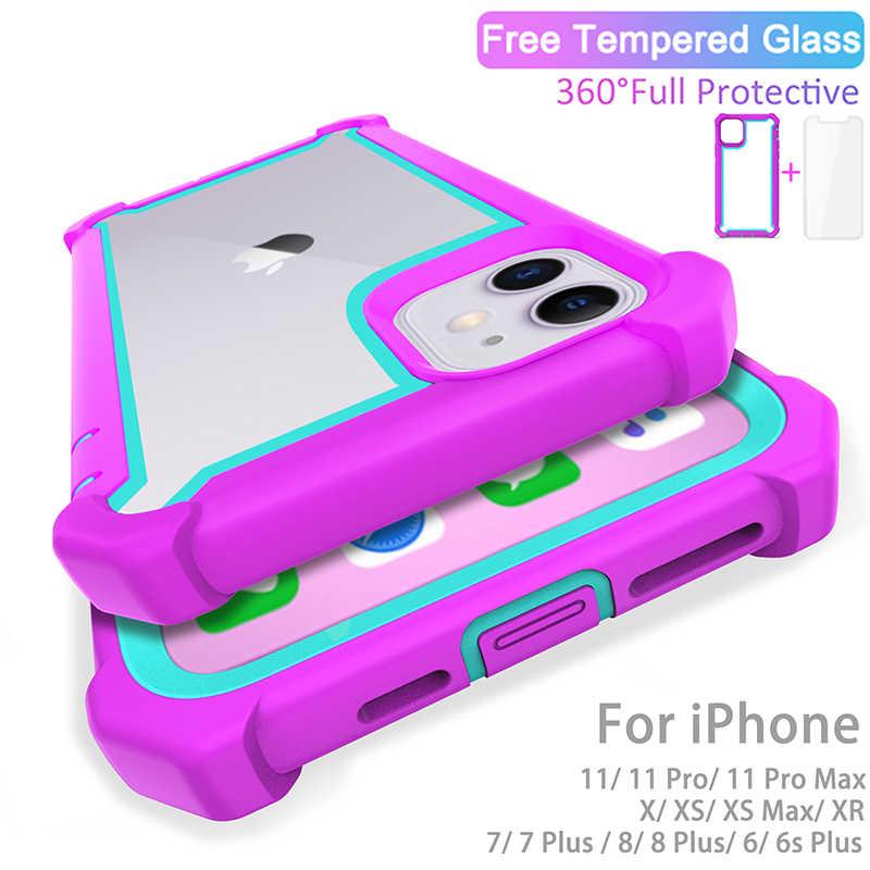 Case untuk iPhone 11 Pro SE2020 X Max XR 6 7 8 PLUS Heavy Duty Perlindungan Armor PC TPU Tahan Guncangan case Gratis Tempered Kaca Penutup