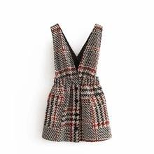 Женская элегантная твидовая юбка на подтяжках с карманами и пуговицами, комбинезон с эластичной резинкой на талии в стиле ретро, повседневные шикарные мини-юбки