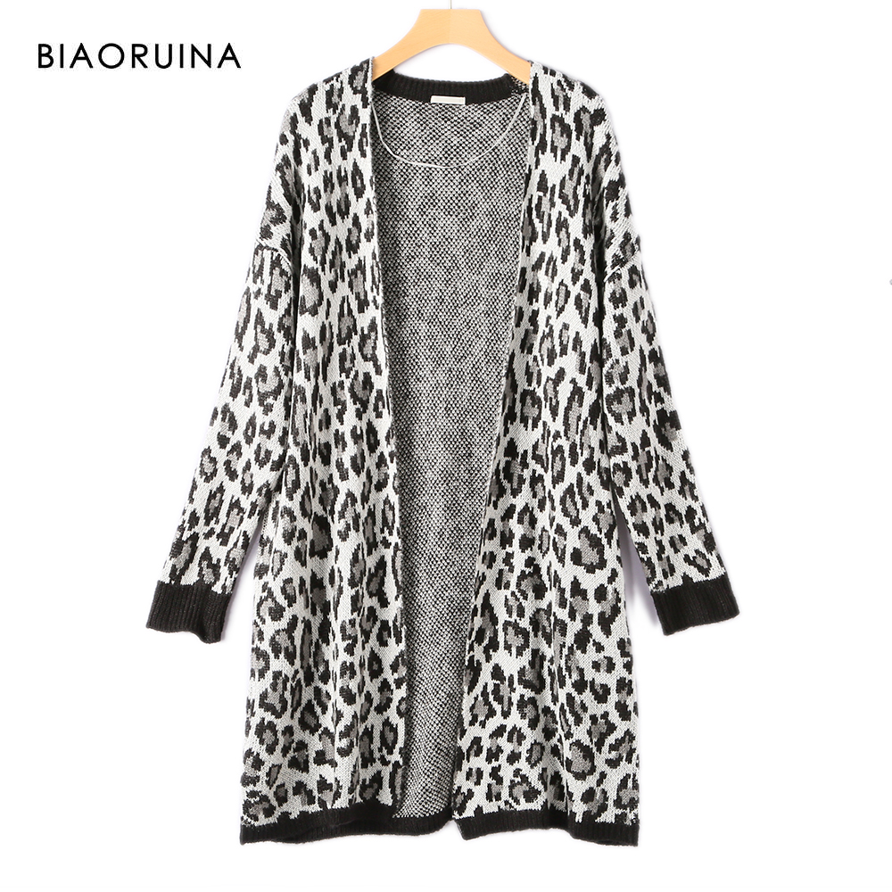 BIAORUINA Women's Fashion Leopard Knitted Long Cardigan Female Loose Retro Sweater Office Lady All-match Casual V-neck Cardigans