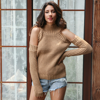 Autumn Turtleneck Off Shoulder Knitted Sweater Women Solid color Strapless Long Sleeve Loose Plus Size Pullovers Knitting Jumper [eam] pelated split big size knitting sweater loose fit turtleneck long sleeve women pullovers new fashion spring 2020 1m877