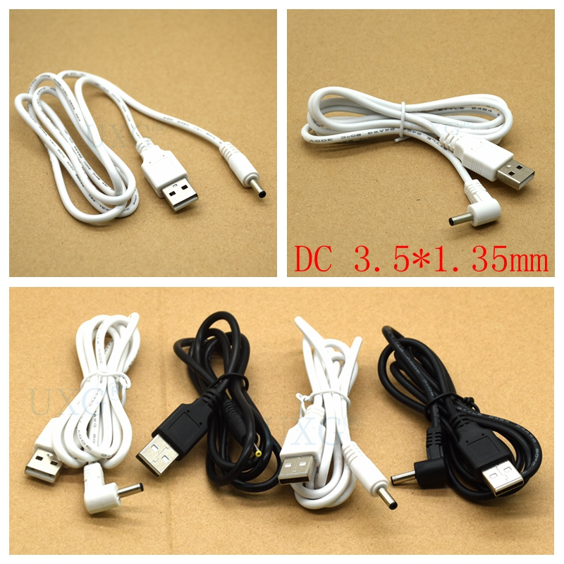 DC Power Adapter Plug USB Convert To 3.5X1.35 Mm 3.5*1.35mm Black Shape Right Angle Jack With Cord Connector Cable 1m White