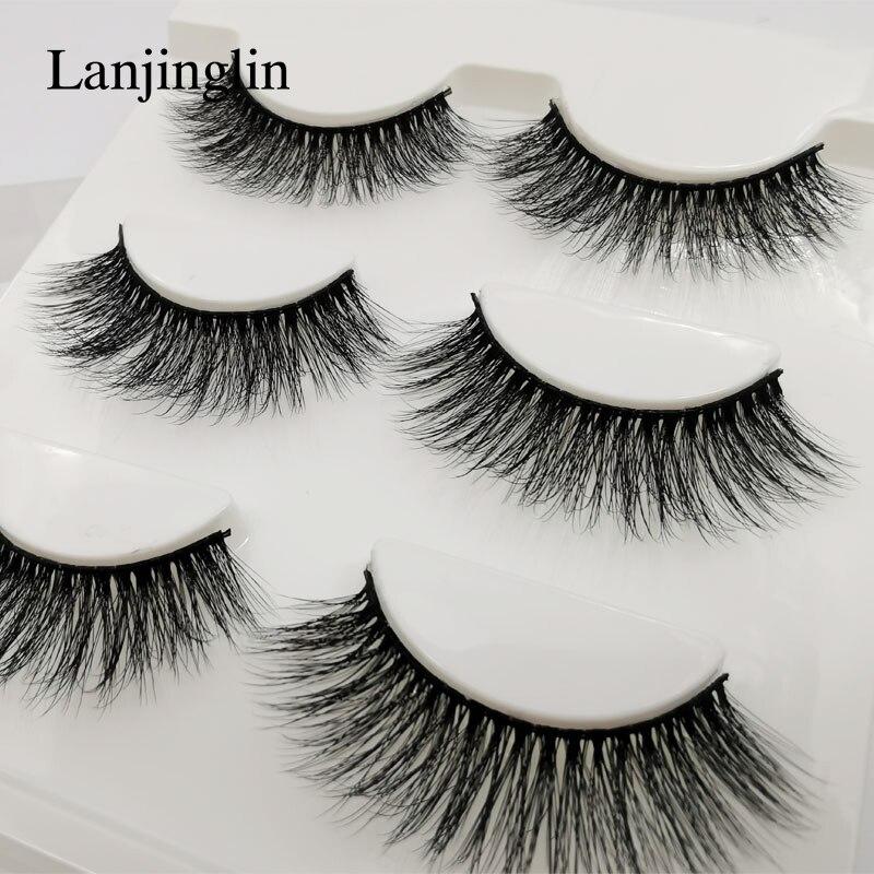 LANJINGLIN 3 Pairs Mink Eyelashes Faux Mink Hair 3d Lashes Eye Makeup Fluffy Wispy False Eyelash Extension Natural Long Handmade