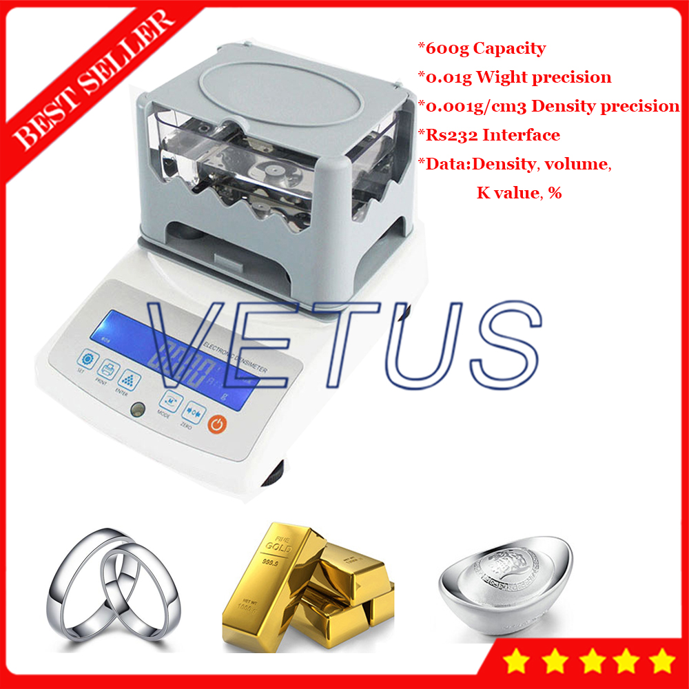 Precious Metal Density Meter Gold Densitometer Gold Purity Tester K Value Tester For Jewelry Silver Platinum Testing VTS6002GD