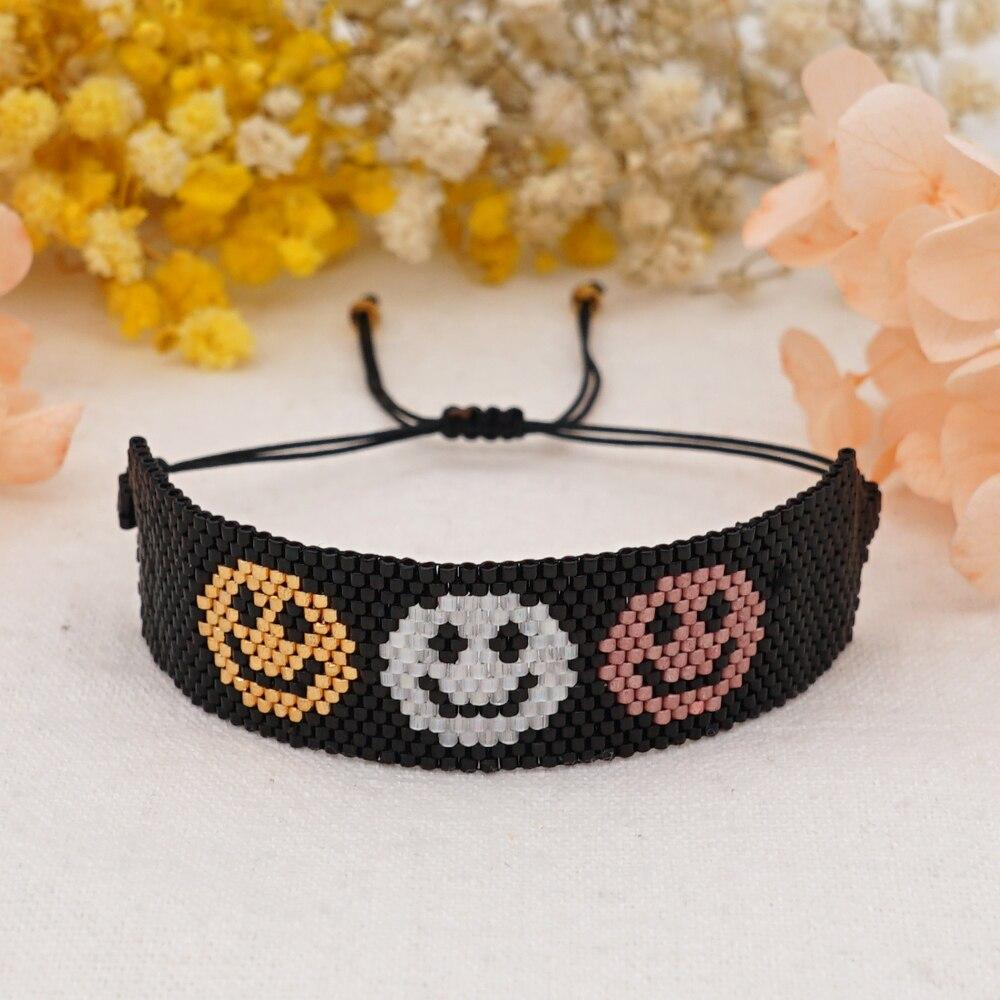 Go2Boho Miyuki Beads Bracelets Gift for Her Smile Face Pattern Bracelet for Women 2021 Handmade Woven Pulseras Lucky Accessories