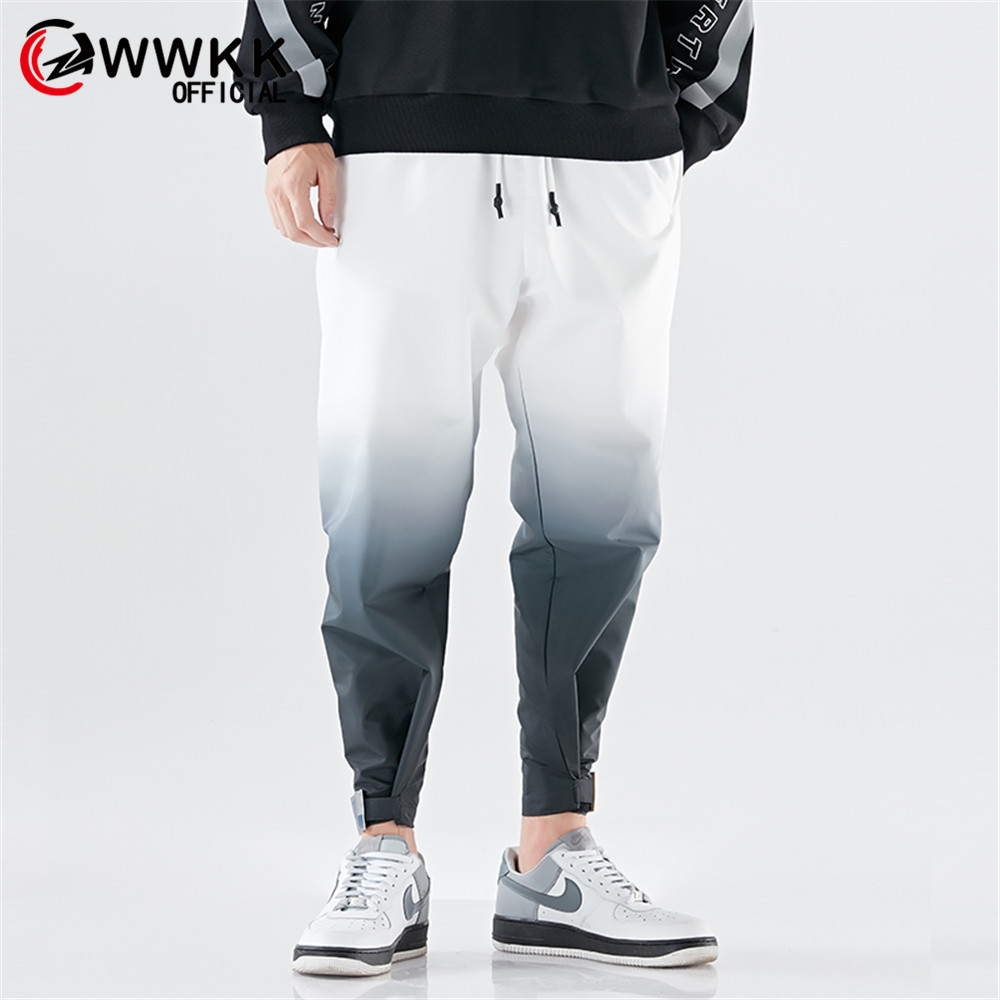 WWKK Men's Wide Leg Sport Loose Big Pockets Comfortable Loose Drawstring Elastic Waist Male Capris Stretchy Jogge Gradient Pants