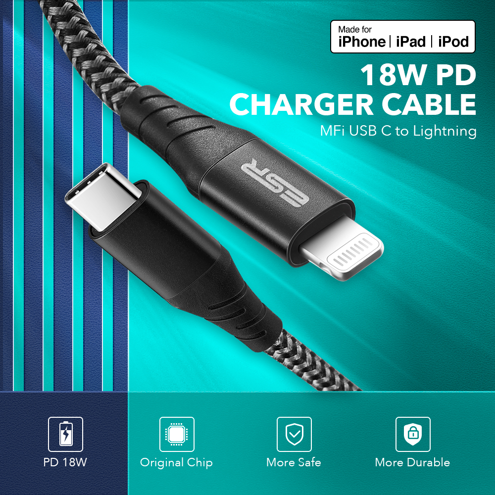 ESR USB C to Lightning MFi Certified PD Fast Charging 1M 2M Type C Data Charger Cable for iPad iPhone 11 Pro XR XS Max X Plus