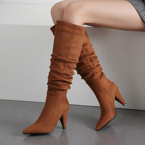 Image 4 - Meotina חורף הברך גבוהה מגפי נשים קפלים ספייק עקבים ארוך מגפי מחודדת הבוהן סופר גבוהה העקב נעלי גבירותיי סתיו אדום גודל 34 43