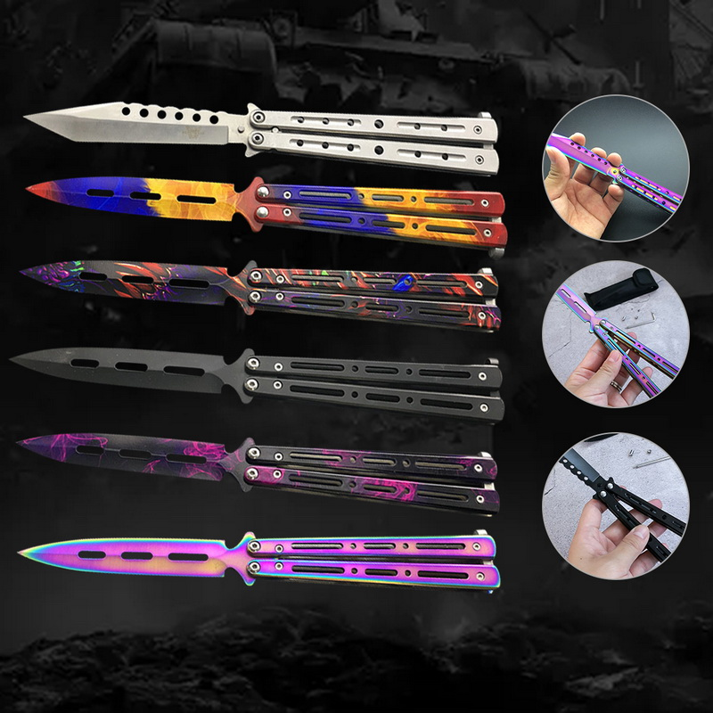 1PCs Folding Knife Practice Butterfly Knife Stainless Steel Dull Tool No Edge Portable Outdoor Sports Tool Training Knife