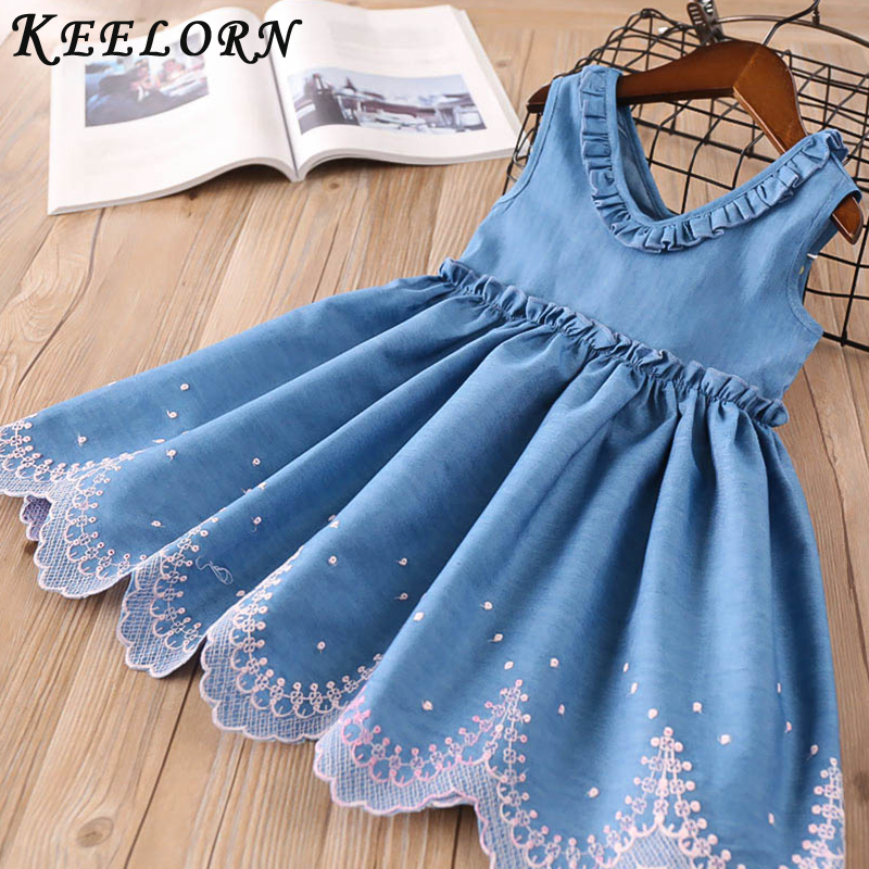 Keelorn Girls Dress Summer Denim Children Clothing Sleeveless Toddler Princess Kids Dresses For Girls Clothes Embroidery Vestido