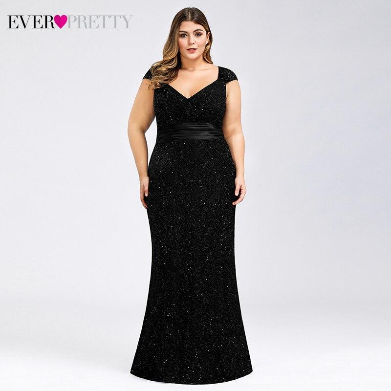 Plus Size Black Lace Evening Dresses Ever Pretty EP07919 V-Neck Sleeveless Elegant Sparkle Mermaid Party Gowns Vestido De Festa