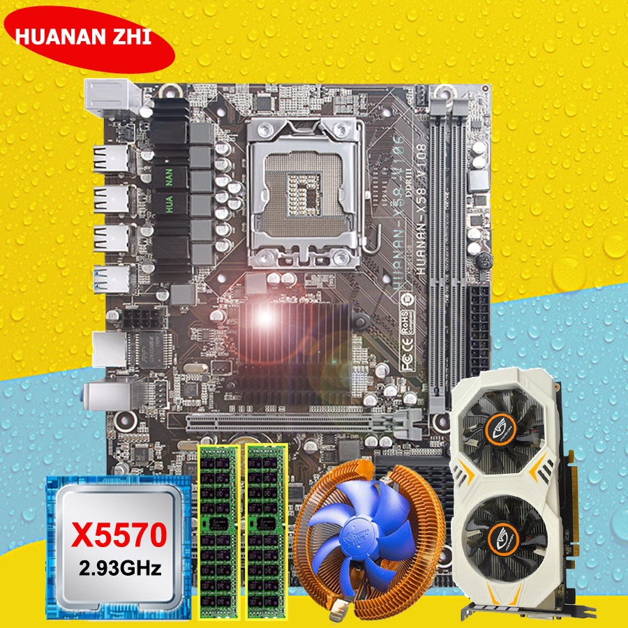 HUANANZHI Motherboard Bundle Discount X58 Motherboard With CPU Intel Xeon X5570 2.93GHz RAM 2*8G REG ECC GTX750Ti 2G Video Card