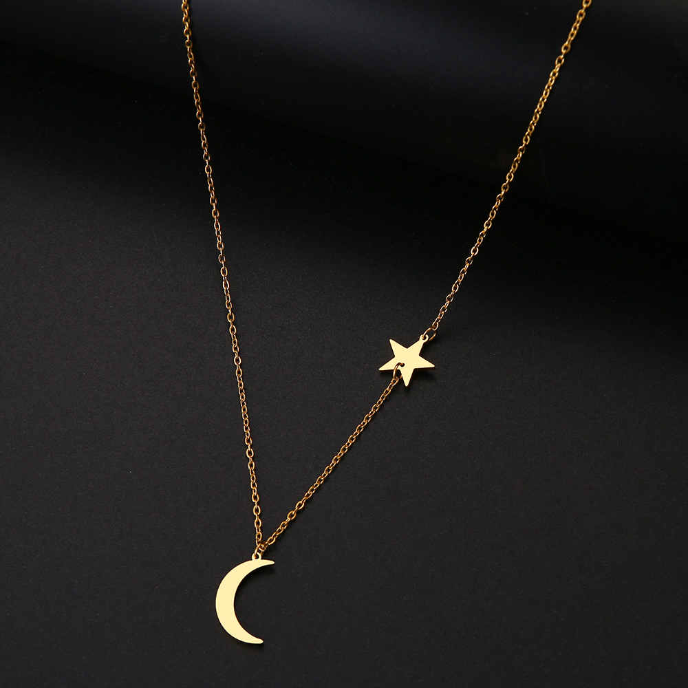 DOTIFI For Women Classic Stainless Steel Women's Necklace Fashion Gold Silver Color Moon Star Clavicle Chain Engagement Jewelry