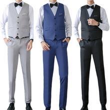 3Pcs/Set Suits Men Solid Long Sleeve Slim Suits (Shirts+Vest+Pants) Suits for Men Formal Suits Set with Bow Tie costumes homme