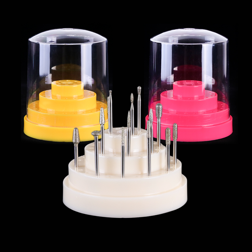 48 Holes Acrylic Nail Drill Bits Storage Box Holder Display Nail Files Container Milling Cutter Case Manicure Accessories BE734